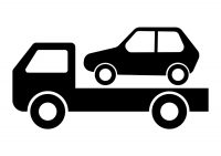 Black Car Icon Truck Towing Vector Illustration